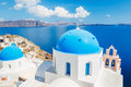 Santorini island greece white architecture and blue ocean view of caldera with domes Royalty Free Stock Photography