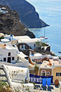 Santorini island greece white houses and pools scene Stock Photography