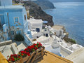 Santorini island greece white houses scene Royalty Free Stock Photo