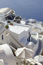 Santorini island landscape of the city of oia on greece Stock Photos