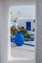 Santorini island with typical house in Greece Royalty Free Stock Photo