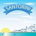 Santorini Landscape Vectors