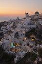 Santorini at night view of oia town island in greece Stock Photos
