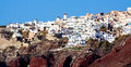 Santorini oia village windmill in on island greece Royalty Free Stock Photo