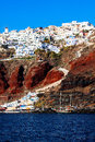 Santorini oia village windmill in on island greece Stock Image