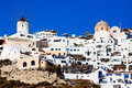 Santorini oia village windmill in on island greece Stock Photo