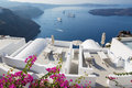 Santorini outlook over the luxury resort in imerovigili to caldera with the cruises Stock Photos