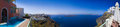 Santorini panorama greece firostefani vacation background Royalty Free Stock Photo