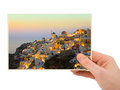 Santorini photography in hand my photo isolated on white background Royalty Free Stock Images