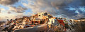 Santorini sunset oia village on panorama Royalty Free Stock Image