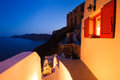 Santorini sunset villa island greece Royalty Free Stock Images