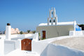 Santorini typical church with bell tower island greece Stock Photography