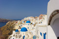 Santorini - view of caldera with churches Stock Photography