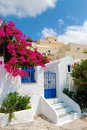 Santorini village Stock Image