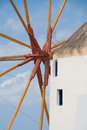 Santorini windmill detail of a traditional in oia island greece Royalty Free Stock Image