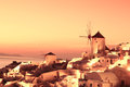 Santorini with windmill in Oia, Greece Royalty Free Stock Images