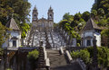 Santuario do bom jesus do monte stairway and church of Royalty Free Stock Photography