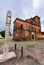 Sao Matias Church and Pillory Stock Image