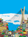 Sao paulo city landscape cartoon illustration Royalty Free Stock Images