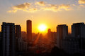 Sao paulo city view with sunset Stock Photo