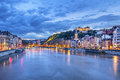 The Saone river in Lyon city Royalty Free Stock Photo