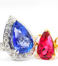 Sapphire and ruby rings Stock Photos