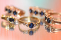 Sapphires and reflection Royalty Free Stock Photo