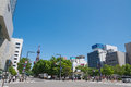 Sapporo odori park district in hokkaido japan the tower is television tower located at Stock Photos
