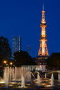Sapporo odori park night scene of television tower and the west fountain at in hokkaido japan Stock Image