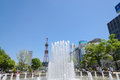 Sapporo odori park the west fountain and tv tower located at in hokkaido japan Royalty Free Stock Photo