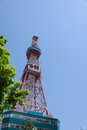 Sapporo television tower located at odori park in hokkaido japan Stock Photography