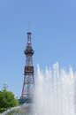 Sapporo tv tower and fountain splash at odori park in hokkaido japan Stock Image