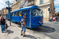 Sarajevo bosnia and herzegovina aug old blue tram passes by pedestrians on the street on august in b h trams are Stock Photos