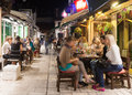 Sarajevo bosnia and herzegovina august alfresco cafe and restaurants at night crowded with tourists and locals nightlife is Royalty Free Stock Photography