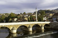 Sarajevo miljacka river with bridge bosnia and herzegovina Royalty Free Stock Photography