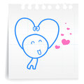 Sarang hae yo love you cartoon on paper note hand draw Stock Image