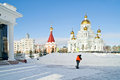 Saransk urban view orthodox cathedral of the holy soldier of fedor ushakov Royalty Free Stock Images