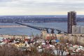 Saratov city russia road bridge over river volga which connects and engels Royalty Free Stock Photography