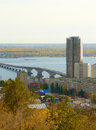 Saratov Engels bridge over the Volga Royalty Free Stock Photo
