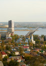 Saratov Engels bridge over the Volga Royalty Free Stock Photos