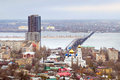 Saratov russia road bridge over river volga which connects city and engels Royalty Free Stock Photo