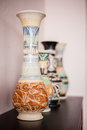 Sarawak crafted vase view of vases decorated with s craft Royalty Free Stock Photography
