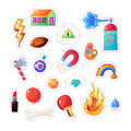 Sarcastic modern colorful sticker set. Vector fashion patch illustration Royalty Free Stock Photo