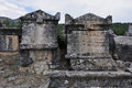 Sarcophagi ancient greco roman and byzantine city of hierapolis the greek ἱεράπο ις lit holy was an Royalty Free Stock Image