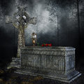 Sarcophagus and cross old stone in the forest Stock Photography