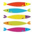 Sardine colorful fish icon set. Iwashi. Sardina pilchardus. Cute cartoon character. Anchovy pilchard. Water animal. Marine life. F Royalty Free Stock Photo