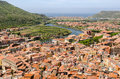 Sardinia bosa village view of river and lovely of in italy Stock Images