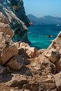 Sardinia cala goloritzè view of awesome coast and natural rock monument of goloritze near baunei city in ogliastra italy Royalty Free Stock Photography