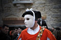 Sardinia carnival parade of the ancient ancestral masks ofmamuthones and isshoadores during the traditional typical of central Royalty Free Stock Photography
