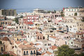 Sardinia roofs of cagliari panoramic view stampace neighborhood in Royalty Free Stock Images